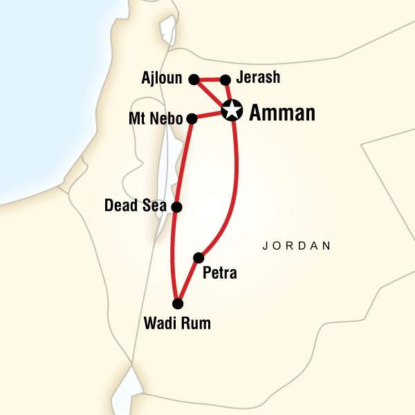 Abenteuerreise Route Explore Petra and Wadi Rum