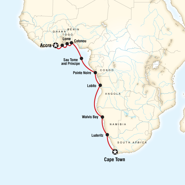 Abenteuerreise Route West Africa Cruise - Cape Town to Accra