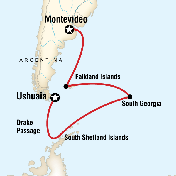Abenteuerreise Route Falklands, South Georgia & Antarctic Islands