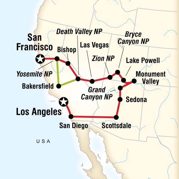 National Park Tour Operators National Park Tour Packages Best - Map western us national parks