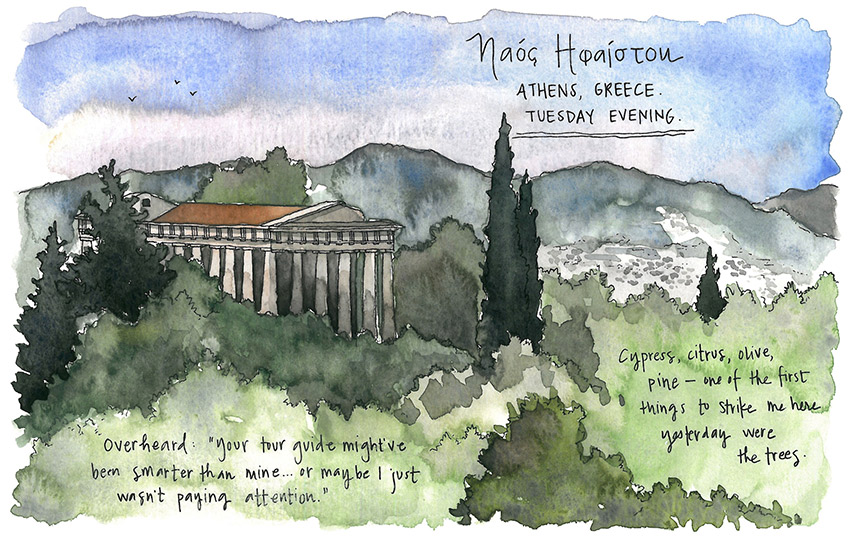 The vista over the Temple of Hephaestus.