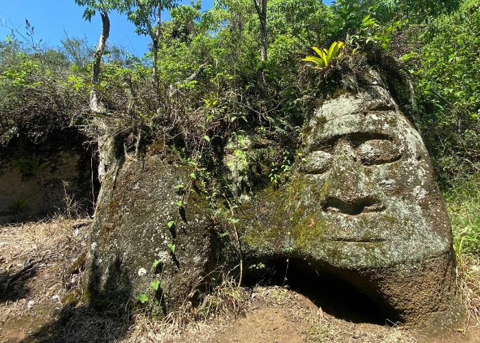 an Inca style rock carving by settler Heinz Wittmer still calls Floreana home