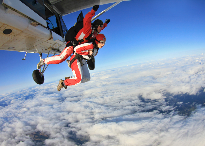 go from your couch to jumping out of an airplane because you can