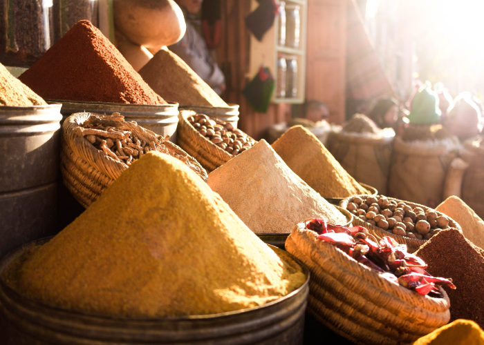 find all of the makings for harissa in the spice markets of Morocco