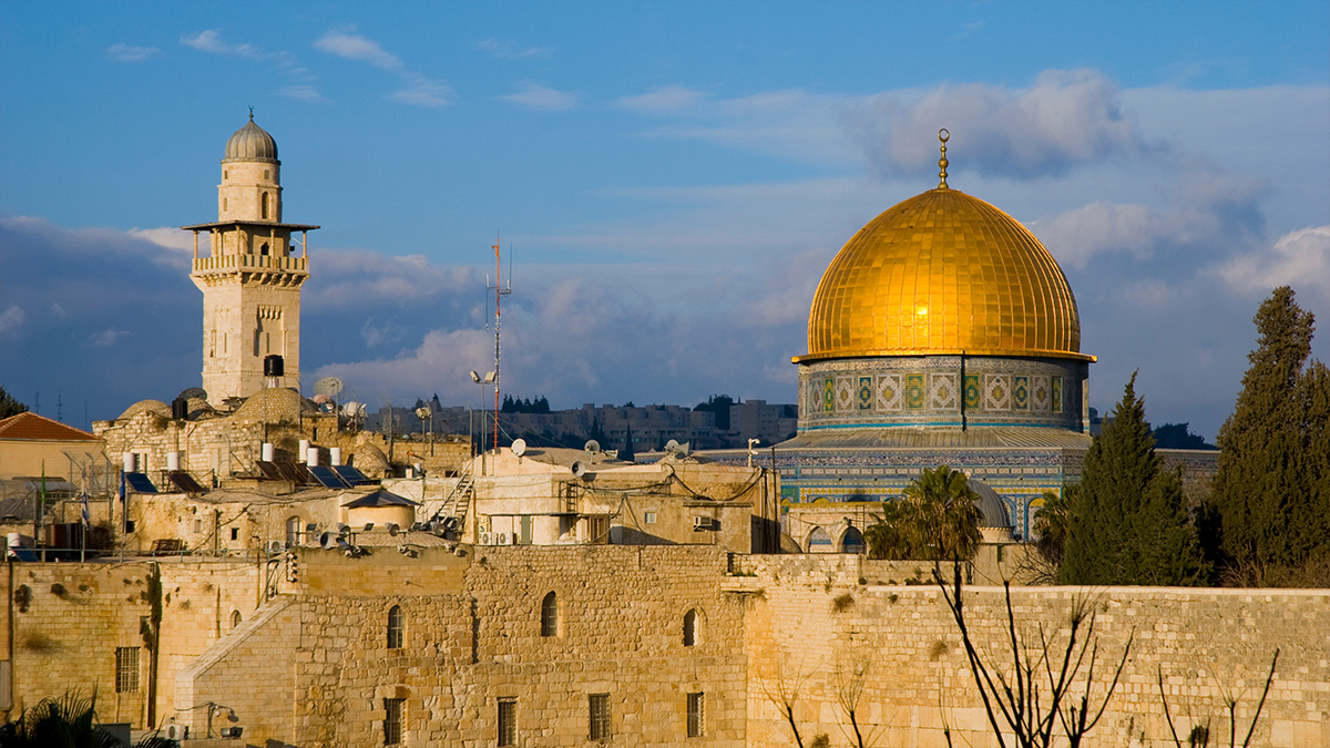 The Dome of the Rock on the Temple Mount in the Old City of Jerusalem.