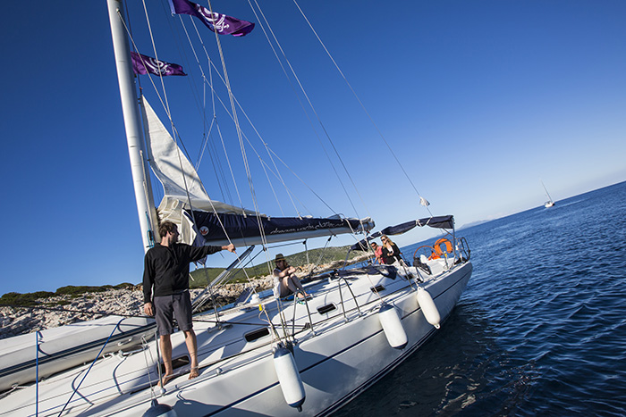 try your hand at the helm or blissfully relax on deck as the water drifts by