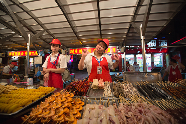 Appetizing eats from a street vendor in Beijing, Photo by Attit P.