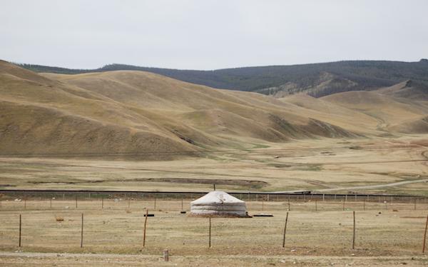 A ger dotting the landscape. Inner Mongolia.