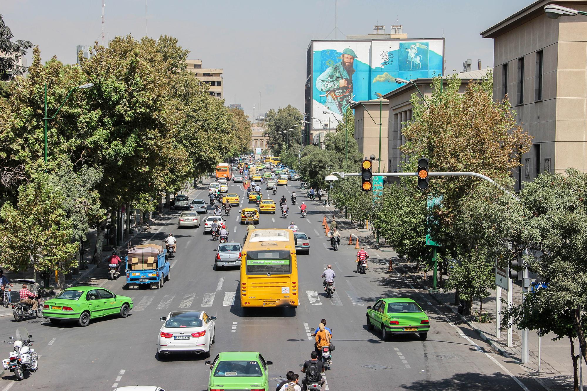 The bustling streets of Tehran. Photo courtesy Becki Enright.