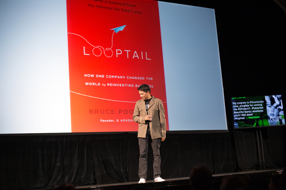 Bruce introducing 'Looptail: How One Company Changed the World by Reinventing Business' at 'The Future of Tourism'.