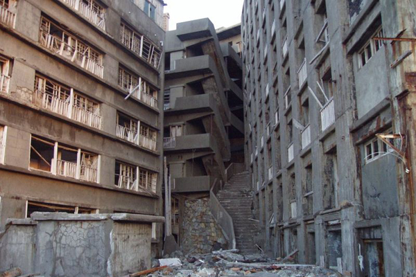 Buildings and the so-called the Stairway to Hell, Hashima Island, Japan. Photo courtesy Jeff Dunsworth.