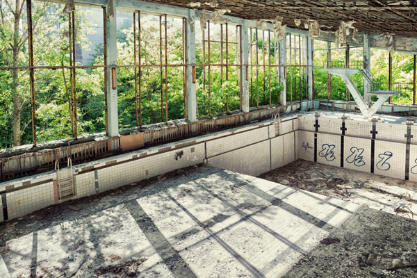 Off the deep end. An abandoned swimming pool in Pripyat. Photo courtesy William Lewis.