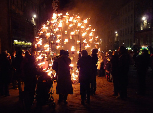 Fire is the feature at most Hogmanay celebrations. Photo by John L.
