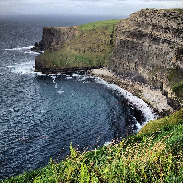 The Cliffs of Moher set into the harsh winds of the Atlantic Ocean.
