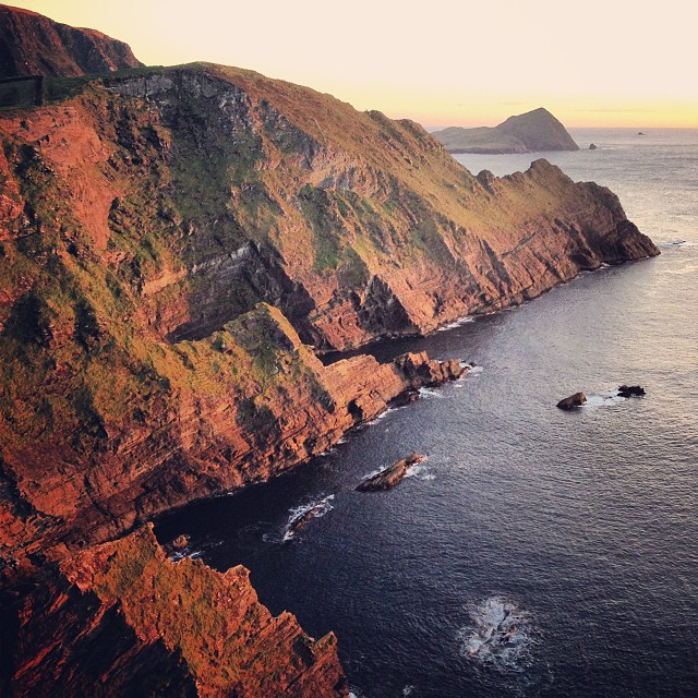 Looking south from the Cliffs of Kerry at dusk.