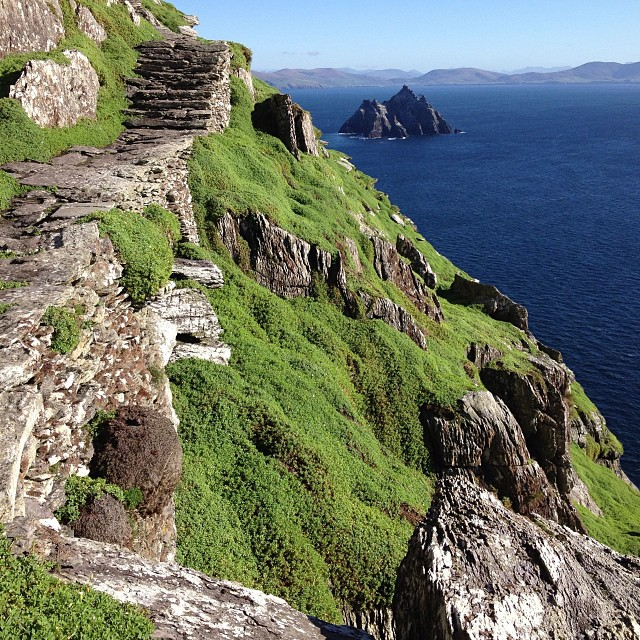 Medieval monastic stairway at Skellig Michael, an island off the coast of County Kerry.