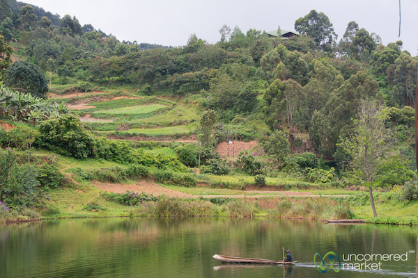 a dugout canoe on the lake w rice terraces in the distance