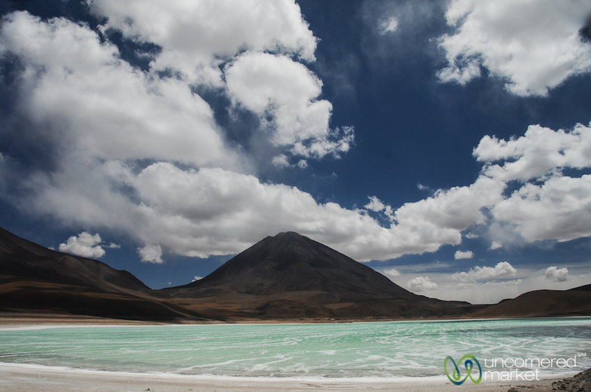 Laguna Verde. Beautiful to admire from afar, but dangerous to touch. The colour comes from high concentrations of arsenic and magnesium.
