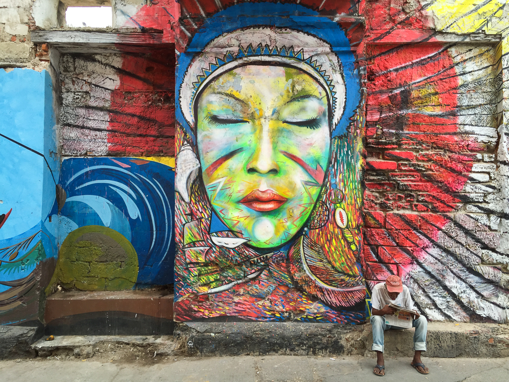 Street art and a different vibe in Getsemani neighbourhood.