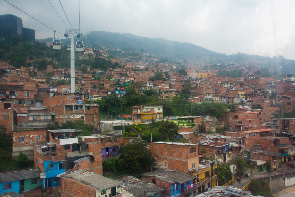 Taking the public transport cable cars to Santo Domingo, one of Medellín's outer neighborhoods.