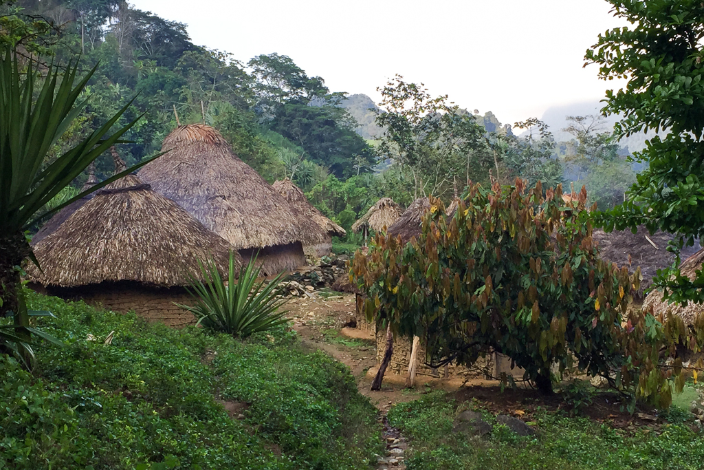Passing by a Kogi village along the Lost City trek. Their homes are believed to be very similar to those of the Tayrona people.