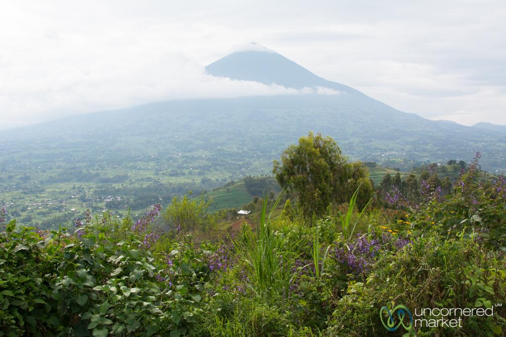 The extinct volcano of Mt Muhabura through the clouds.