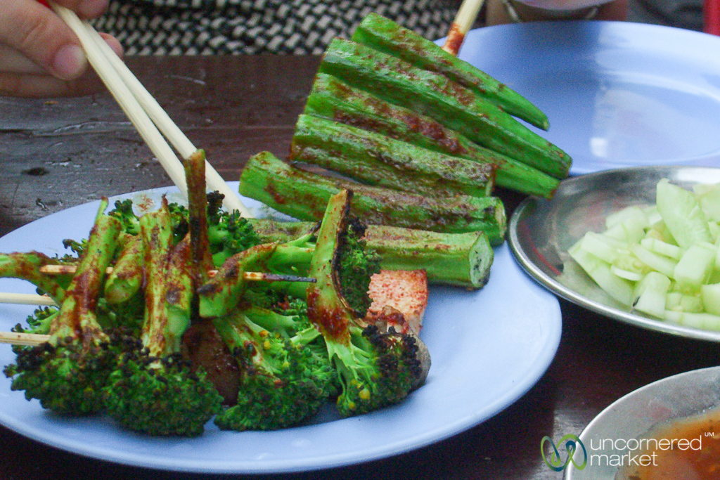 Rangoon barbecue, including vegetables grilled in a spicy Burmese sauce.