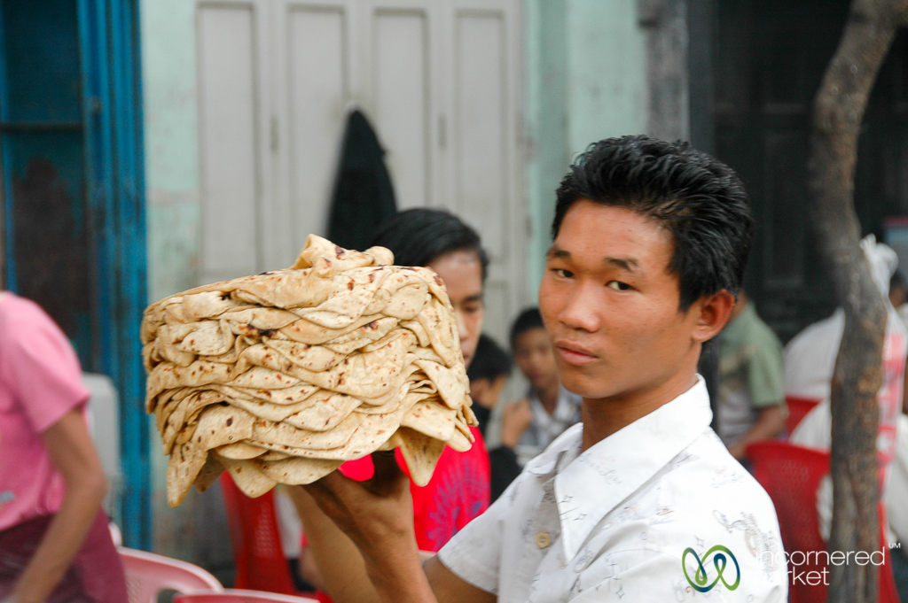 Street-side chapatti and curry restaurant Mandalay.