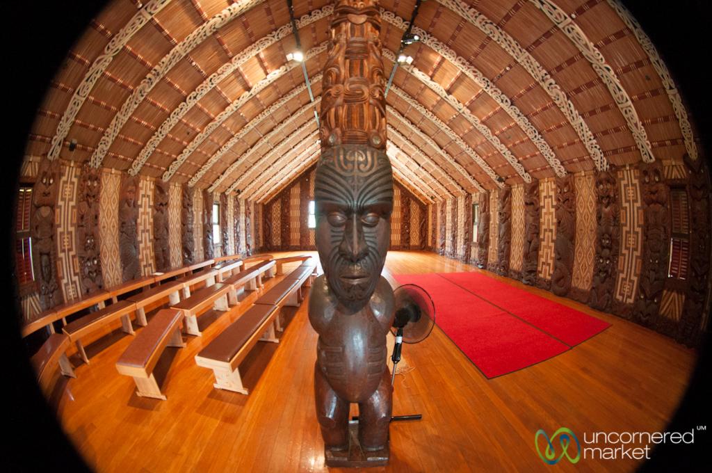 Inside a Maori meeting house called a 'wharenui' at Waitangi Treaty Grounds.