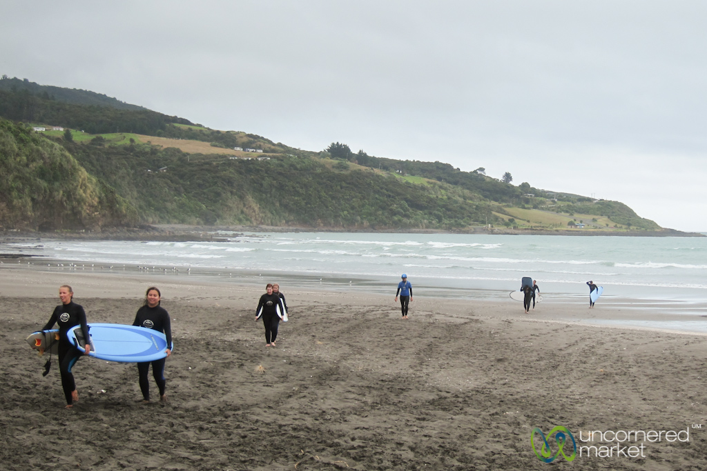 Our group after a surfing lesson and riding a few waves.