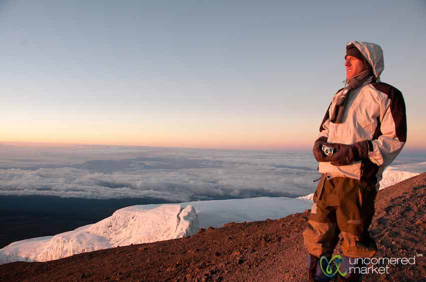 Admiring the glaciers at the top of Mount Kilimanjaro.