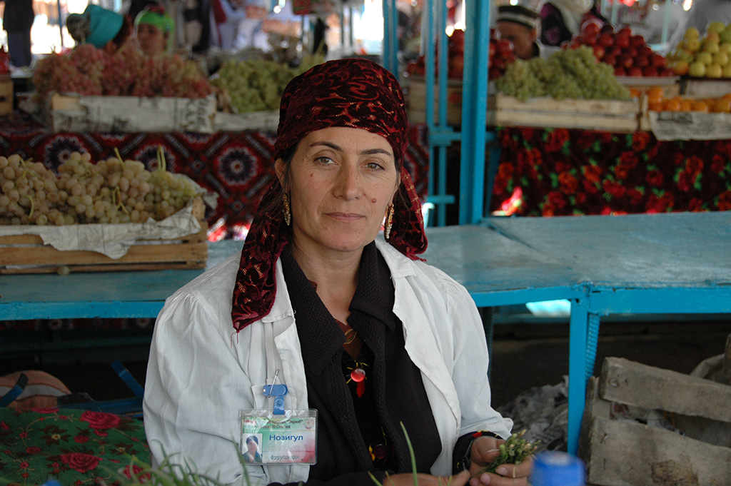 It's easy to get lost in the fruits and vegetables of Dushanbe's Green Market.