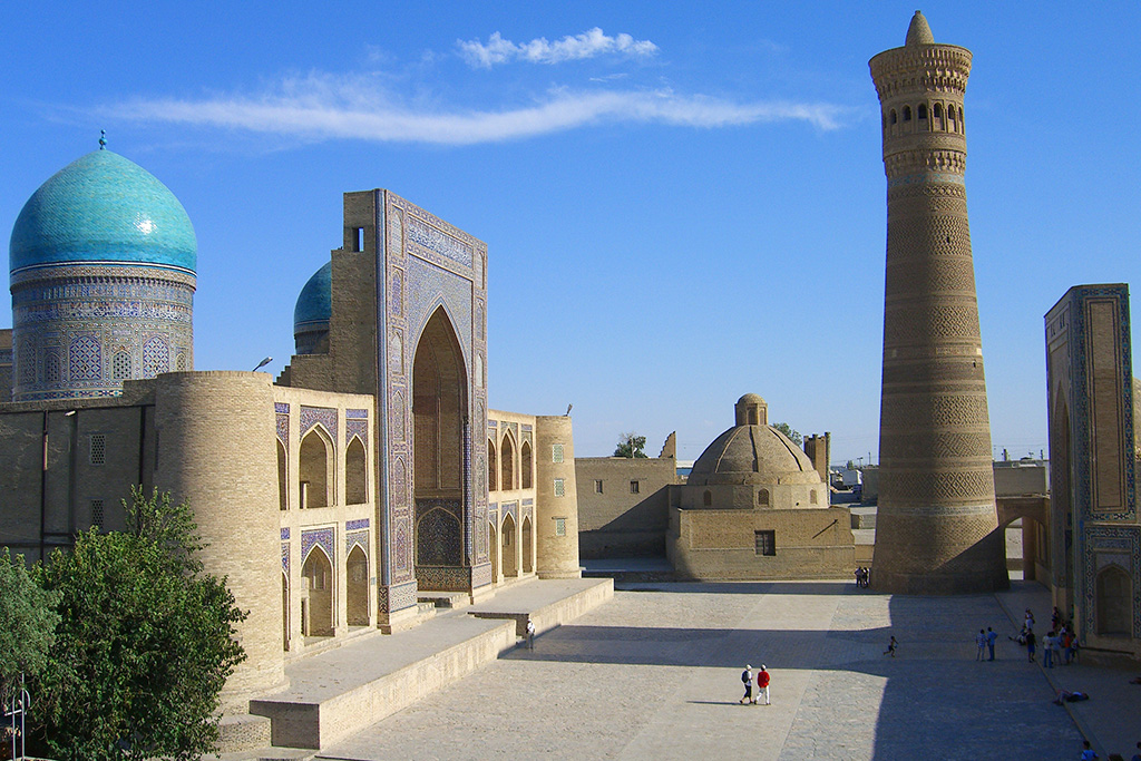 16th century Mir-i-Arab Medressa across from Kalon Mosque in Bukhara's historic centre.