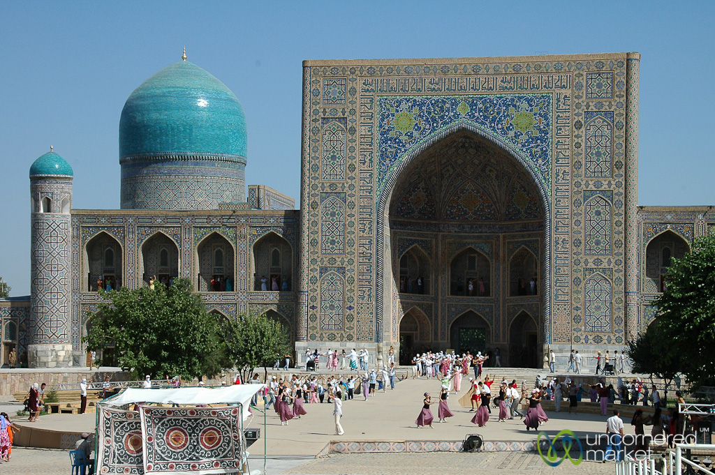 Samarkand's famous Silk Road Registan surrounded by madrassas.