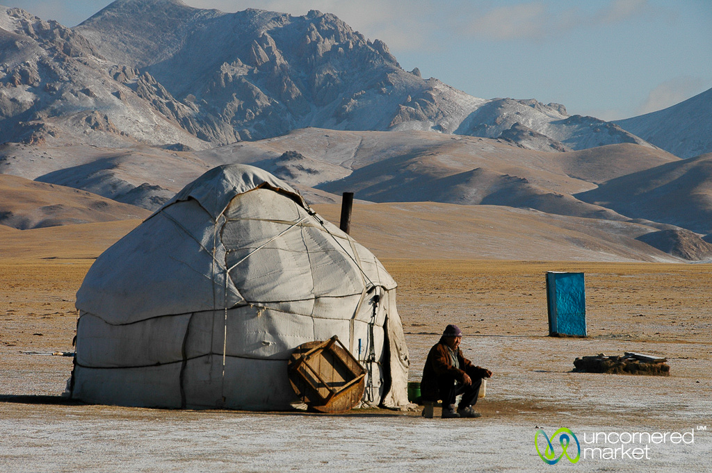 Morning tea outside the yurt at Song Kul Lake.