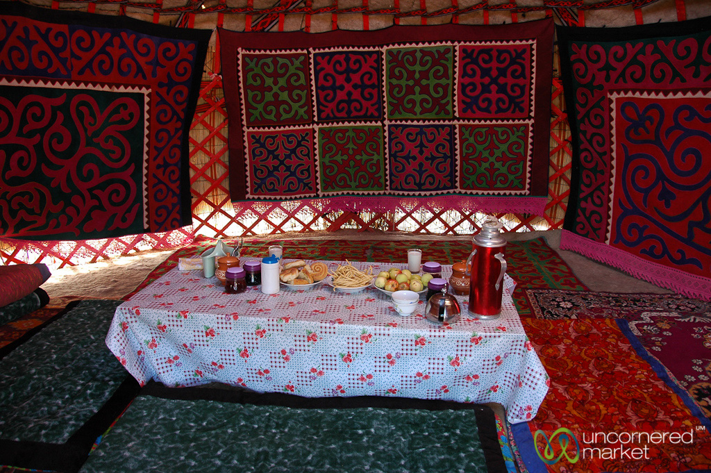 Dinner inside a yurt on the shores of Lake Issyk-Kul.