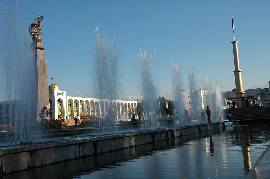 Enjoying the afternoon at Ala Too Square in Bishkek.