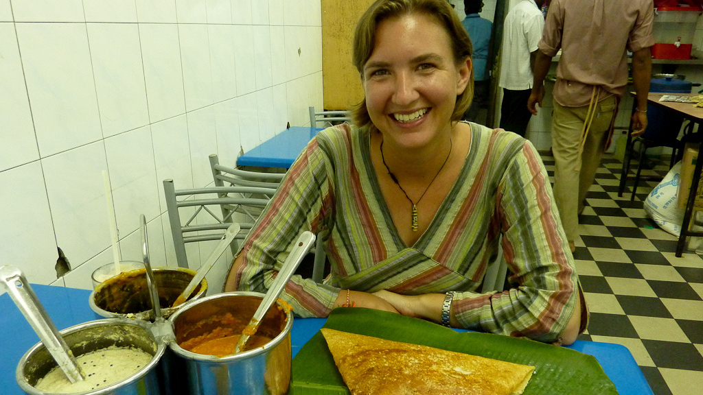 Time to top this dosa with sambar and dig in.