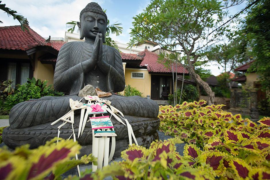 A serene Buddha instills calm in Sanur, Indonesia.