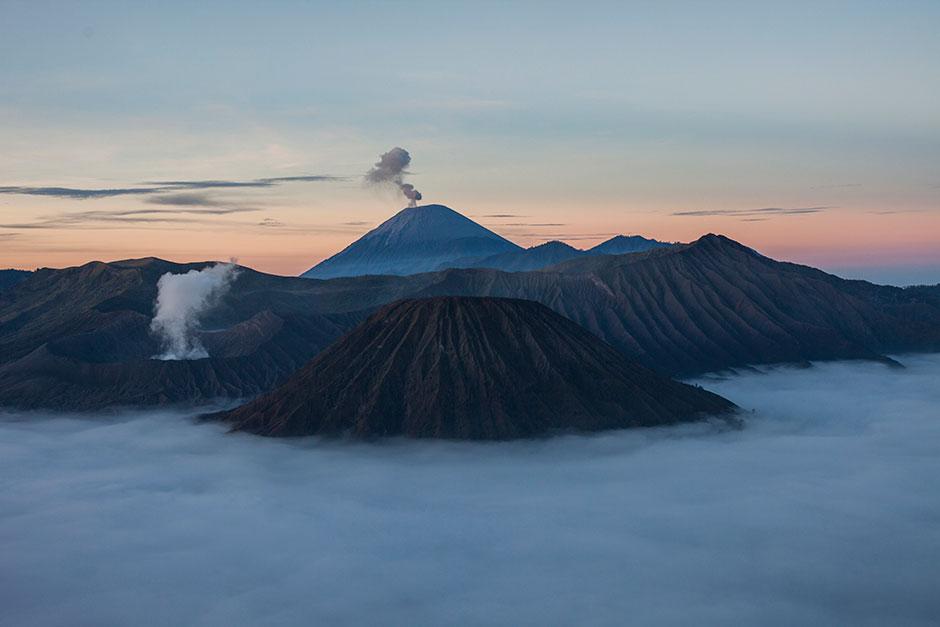 The simmering Mt Bromo Volcano in Java.
