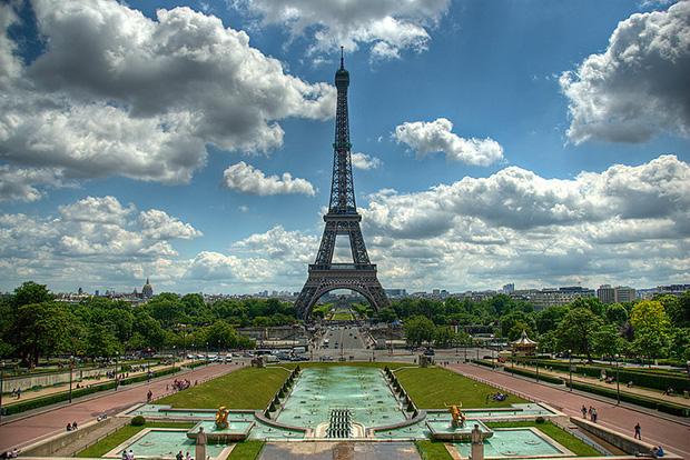 The Eiffel Tower as seen from the Esplanade du Trocadero