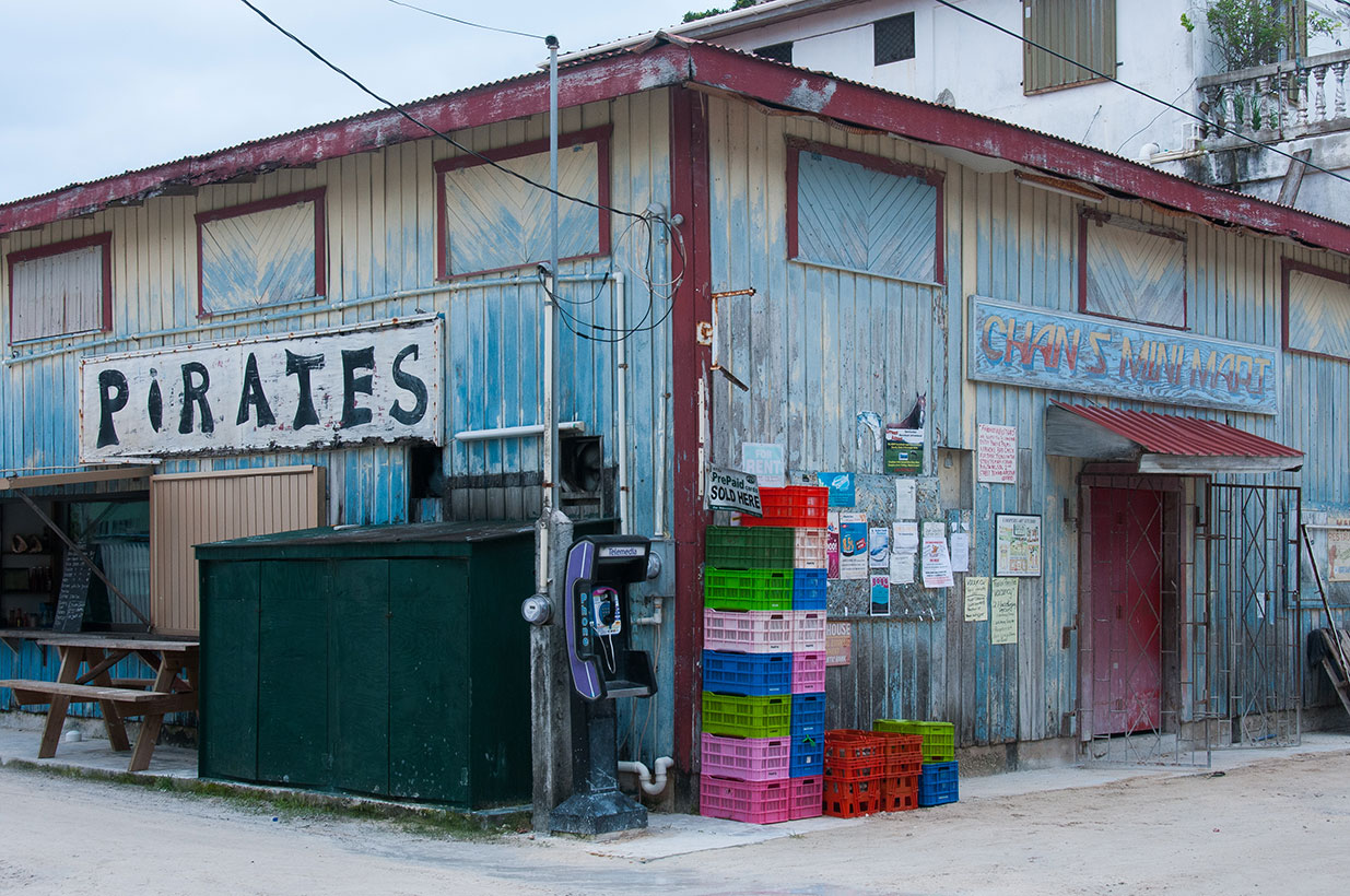 """A """"busy"""" intersection on Caye Caulker."""