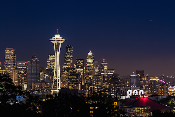 Seattle's skyline just after sunset. Kerry Park on Queen Anne is favorite spot of travellers and photographers looking for classic views of the city.