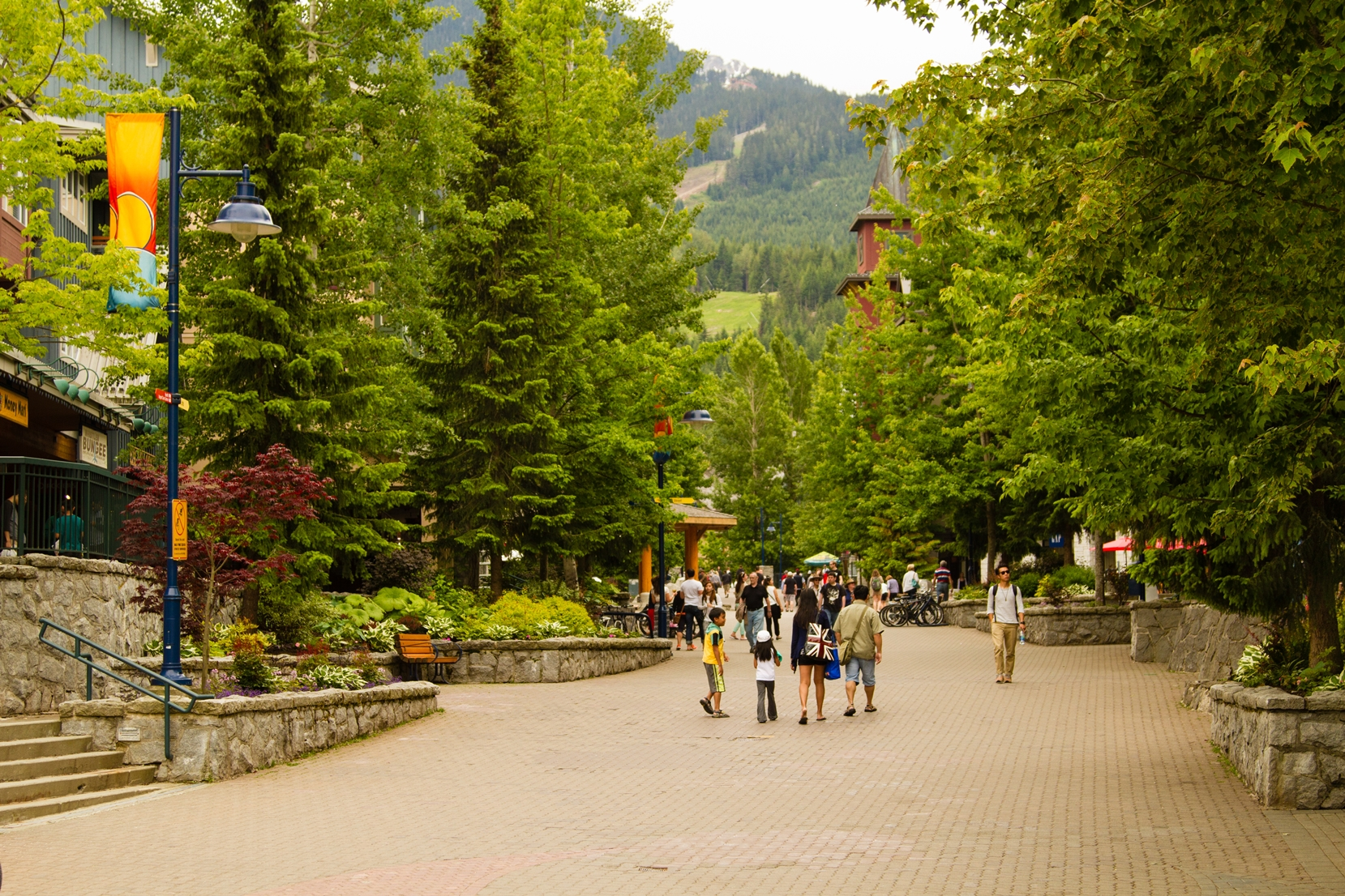 Whistler village is tucked away high up in the mountains of Garibaldi Provincial Park.