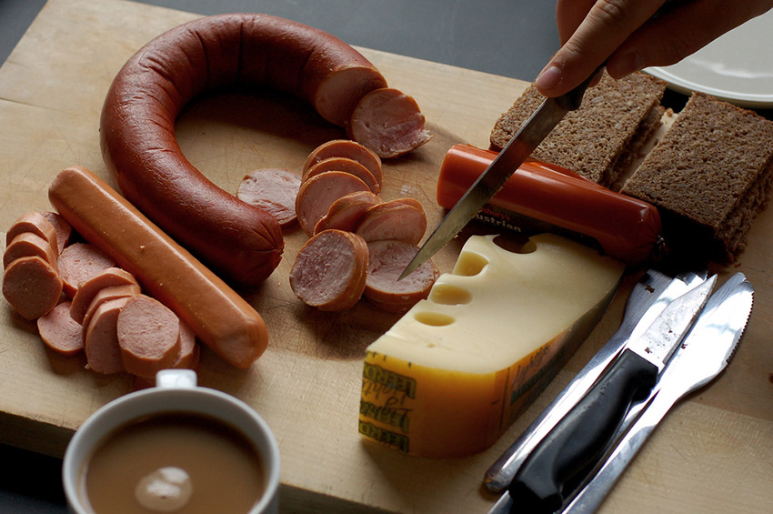 Meat slices or sausages and cheese are typical menu items in Germany. Photo courtesy With Associates.