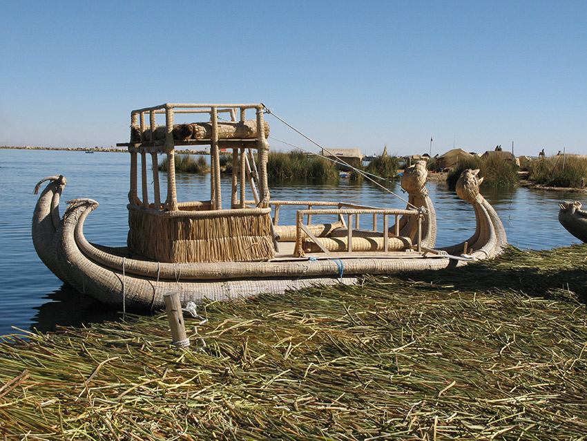 Traditional boat used by the Uros people.
