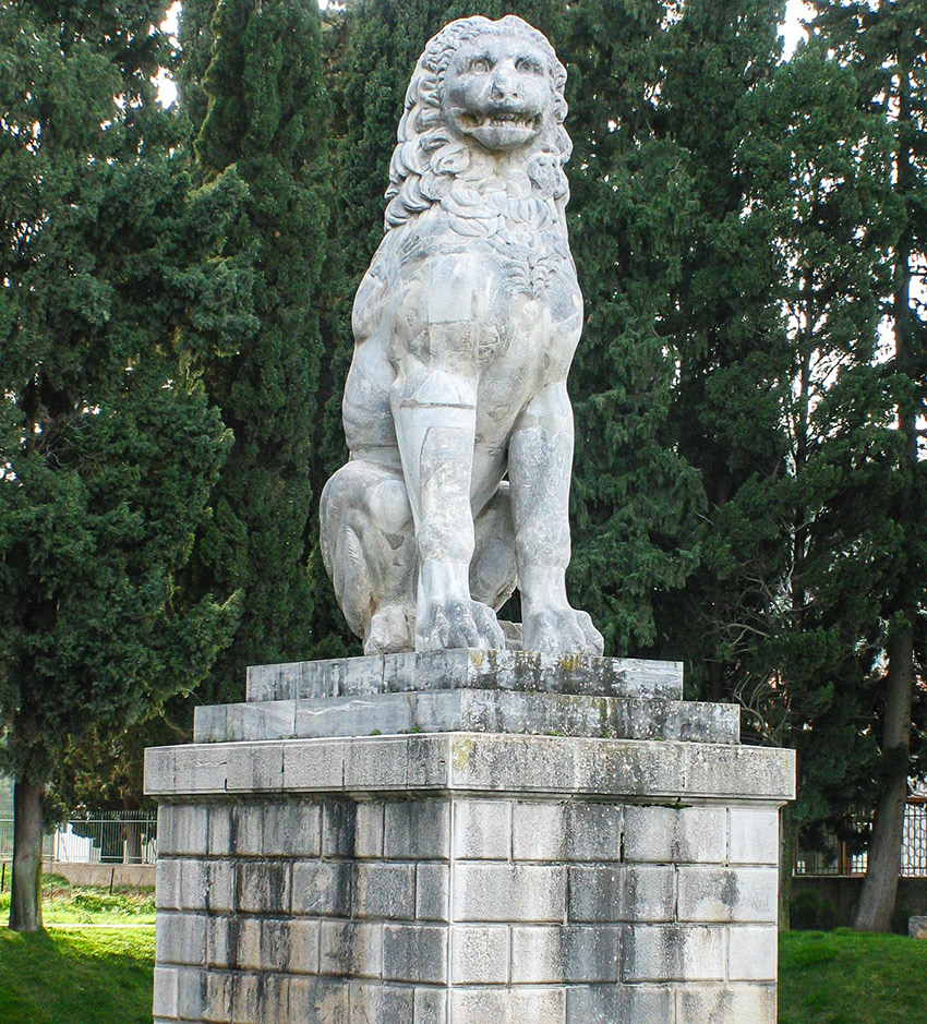 The colossal stone lion marking the burial of the Sacred Theban Band, and the site of the battle of Chaeronea.