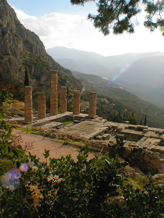 The Temple of Delphi under the shadow of Mount Parnassus.