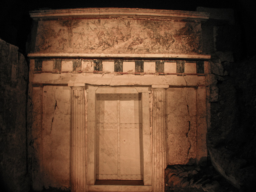 Subterranean entrance to Philip II's tomb at Vergina.