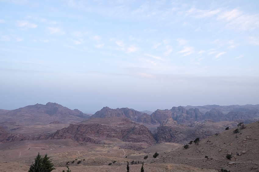 Evening starts settling in over the Petra Valley.